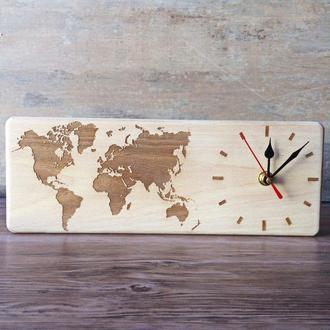 Настольные деревянные часы Карта мира