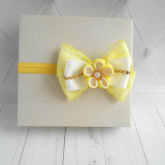 Желтая повязка с кружевом для малышки Украшение с бантиком на голову Подарок девочке на годик