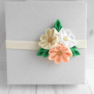 Цветочная повязка для малышки на годик Персиковое украшение для волос Подарок девочке в подарок