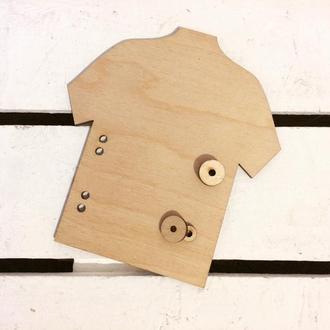 Заготовка для БизиБорда Рубашка с пуговицами