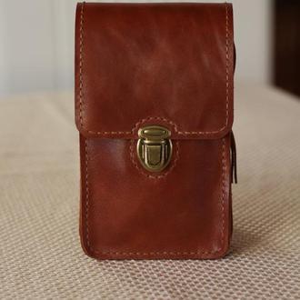 Сумка на пояс для телефона, паспорта и денег из натуральной кожи