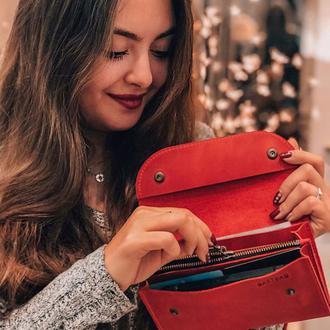 Кожаный кошелек Воллис в красном цвете