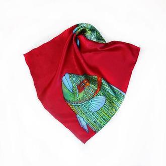 Шелковый карманный платок с большой рыбой, карманный аксессуар
