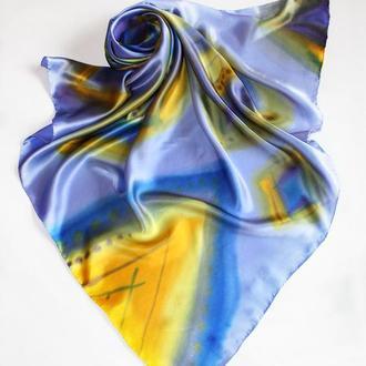 Лавандовый шелковый платок, женский платок ручной росписи, шовкова хустка