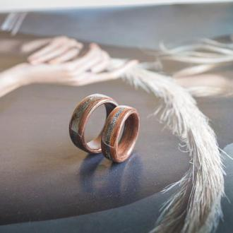 Обручки парні оригінальні, для пари, подарунок на дерев'яне весілля