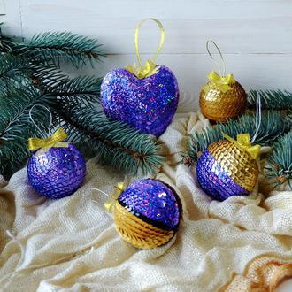 Набор новогодних игрушек, фиолетовый/золотой
