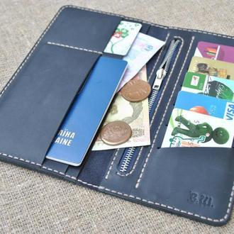 Длиный темно-синий кошелек из натуральной кожи K05-600+beige