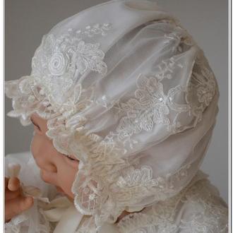Крестильная шапочка чепчик коллекция Елизавета