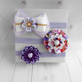 Набор фиолетовых повязок для фотосессии малышке на годик Украшения на голову девочке в подарок