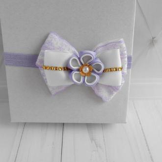 Фиолетовый бантик с кружевом на повязке малышке на день рождение Украшение для волос Подарок девочке