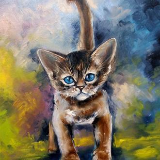 Картина маслом живопись Загадочный кот