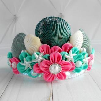 Ободок к костюму русалки Корона русалочки для девочки на фотосессию Обруч для волос в подарок