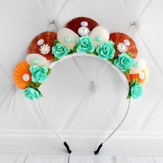 Обруч для фотосессии в морском стиле Корона русалки девушке Ободок для волос с ракушками и цветами