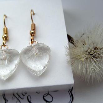 Сережки у формі сердечка з парашутиками кульбабки в ювелірній смолі
