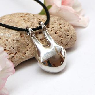 Оригинальный минималистичный кулон Слияние из родированного серебра