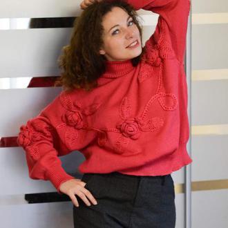 Эффектный теплый свитер 100% шерсть