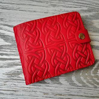 Портмоне кожаное красный кельтский узел