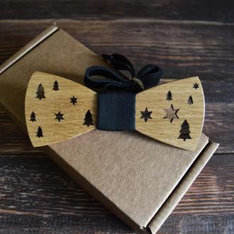 Деревянная галстук-бабочка Новогодний стандарт черная ткань