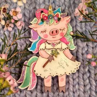 Магнит новогодний на холодильник Свинка Единорог Новый год 2019