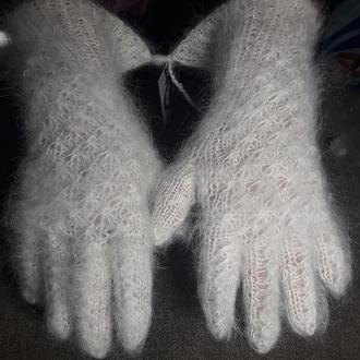 """Перчатки белые ажурные """"Снежинки"""" из козьего пуха"""