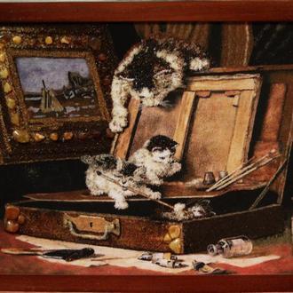 "Картины из янтаря.,, Котята"", картина з бурштину ,,Кошенята"",подарок"