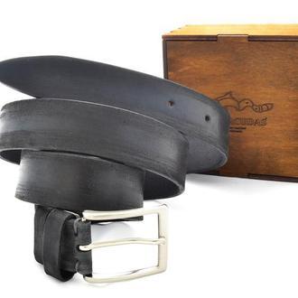 Подарок мужчине эксклюзивный тёртый ремень в коробочке с индивидуальной гравировкой