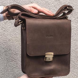 Мужская сумка из натуральной кожи с замком.