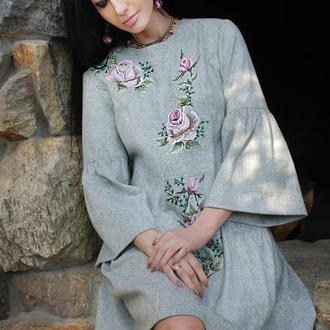 """Платье с вышивкой """"Пыльная роза"""" вышитое платье, теплое платье, нарядное платье"""