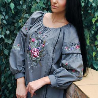 "Блуза с вышивкой, вышиванка ""Роза и лаванда"" нарядная блуза"