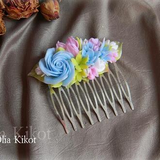 Гребень с цветами , декор полимрная глина. Гребень в подарок. Гребень для волос. Гребень на свадьбу