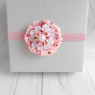 Розовая цветочная повязка на голову для девочки Украшение для волос  Подарок  малышке на годик