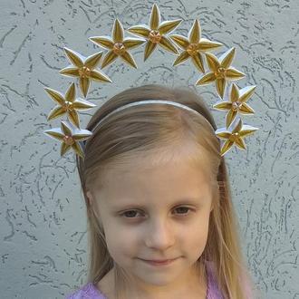 Ободок корона звёздочки на фотосессию Золотой обруч на голову для девочки на новогодний утренник