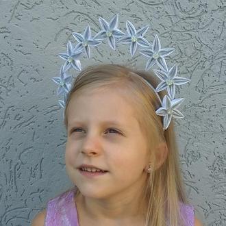 Ободок корона к костюму звёздочки на утренник Серебряный обруч на голову для девочки на фотосессию