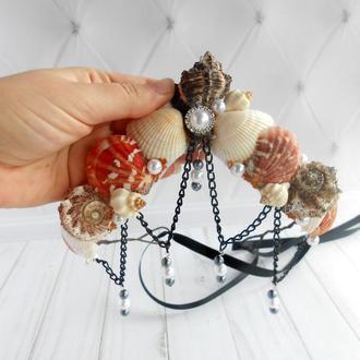 Корона русалки с ракушек для девушки Аксессуар на голову для фотосессии Украшение в морском стиле