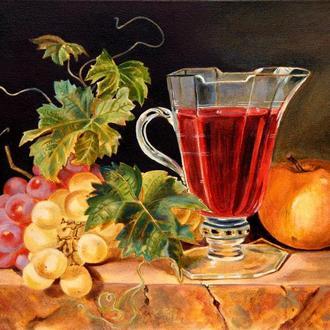 Натюрморт с фруктами и виноградным вином в стеклянном бокале. Картина маслом на холсте, 40х30 см