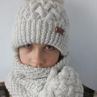 Бесшовная женская шапка, варежки и снуд. Комплект. Плетенка.