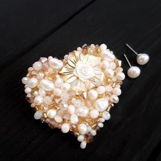 Комплект брошь и серебряные серьги с натуральным жемчугом подарок жене на новый год маме