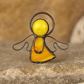 Брошь Ангелочек желтый Подарок девушке, маме Подарок на Новый год, Рождество