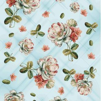 Декупажная карта Розы Роза Пионы Фон Цветы Винтаж 128V 55 г/м2, А4, 210Х290 мм