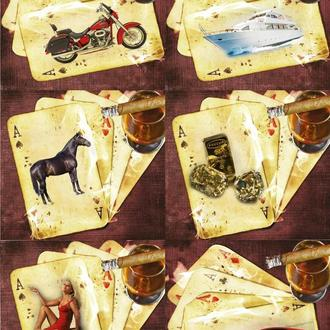 Декупажная карта Карты Лошадь Леди Девушка Мотоцикл Яхта Виски Винтаж 133V 55 г/м2, А4, 210Х290 мм
