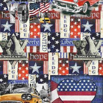 Декупажна карта Америка США Таксі Прапор Долар Зірка Вінтаж 136V 55 г/м2, А4, 210Х290 мм