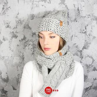 Вязаные шарф-снуд, шапка и рукавицы