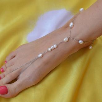 Слейв - браслет на ногу с белым  жемчугом  ′Жемчужный плен′
