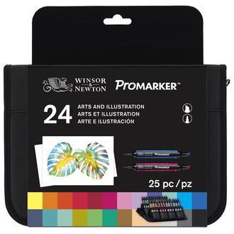Набор двухсторонних маркеров Winsor Newton Promarker Arts Illustration 24 цвета + сумка-пенал