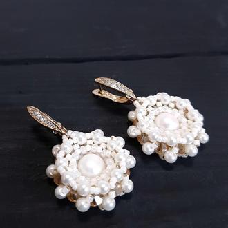 Позолоченные серьги с натуральным жемчугом и кристаллами подарок жене на новый год женщине