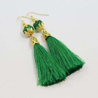 Серьги-кисточки Зеленый бриз