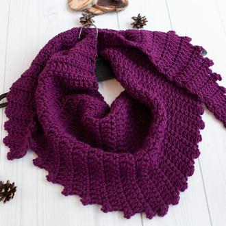 Вязаный бактус шарф крупной вязки баклажан, треугольный шарф косынка