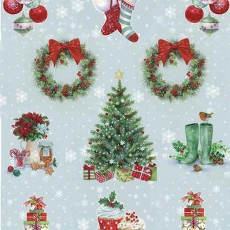 Декупажная карта Елка Новый Год Подарки Рождество Сапог Венок Зима Снег 163V 55 г/м2, А4, 210Х290 мм