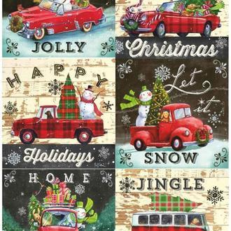 Декупажная карта Праздник Машина Новый год Рождество Дом Зима Винтаж 165V 55 г/м2, А4, 210Х290 мм