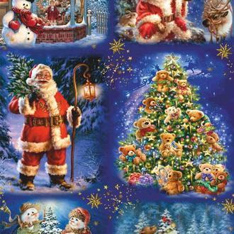 Декупажная карта Санта Дед мороз Подарки Елка Снеговик Зима Рождество 170V 55 г/м2, А4, 210Х290 мм